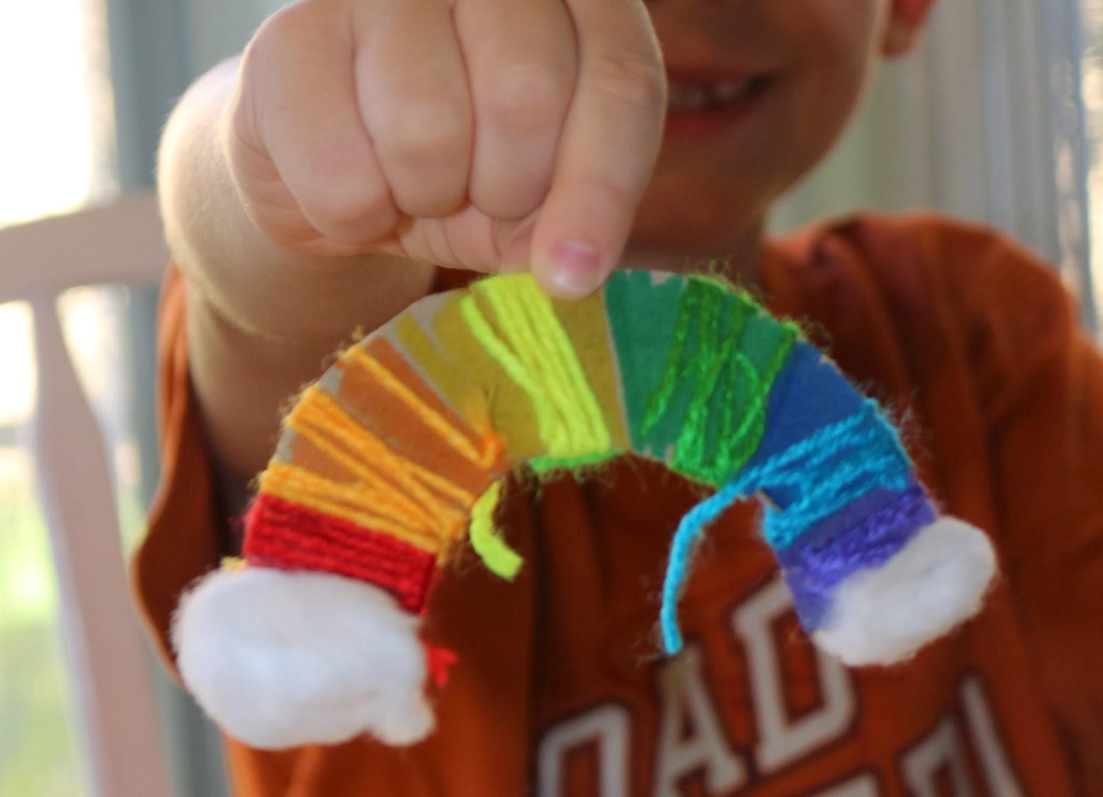 fine motor yarn wrapped rainbow