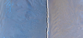 Homage to Kandinsky, golden ratio, the blue desert dust crosses the border of white and abstract landscapes long dune deserts of Africa from the air