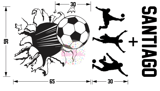 Vinilo Decorativo Infantil Pelota de Futbol Rompe Pared Con Silueta ... 0cff1414729f2