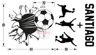 Vinilo Pelota Futbol Rompe Pared Silueta Jugadores Nombre