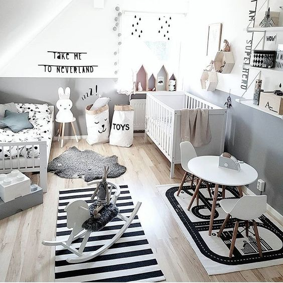 Inspirational kids room in monochrome - siblings