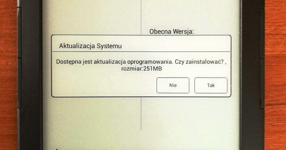 Powiadomienie o aktualizacji systemu oprogramowania w czytniku InkBOOK