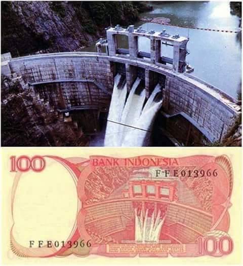 uang indonesia 100 rupiah bendungan tangga