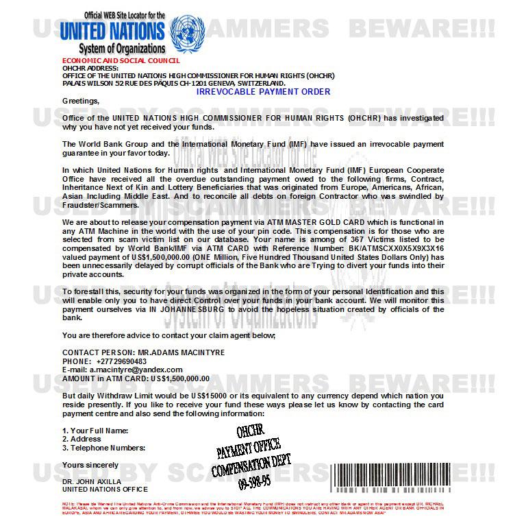 Agent gmail A macintyre Gator3 embarqmail 419 Fyi Email Mr com Macintyreadams com Adams yandex Claim Dr John Office Macintyre Fraud United com Nations Scam 27-729690483 Axilla From