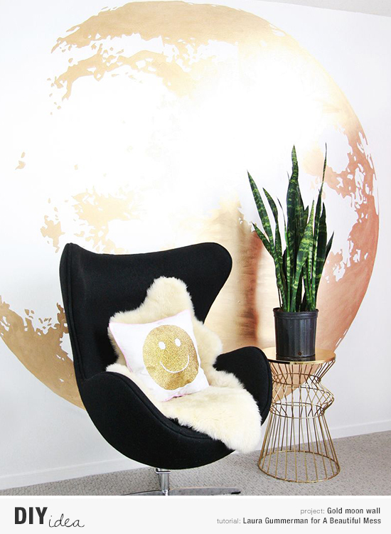 How to make a diy gold moon wall mural tutorial by Laura Gummerman for A Beautiful Mess.