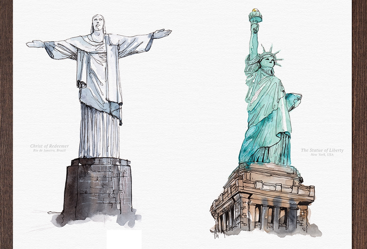 03-Christ-the-Redeemer-and-Statue-of-Liberty-Mucahit-Gayiran-Architectural-Landmarks-Watercolor-Paintings-www-designstack-co