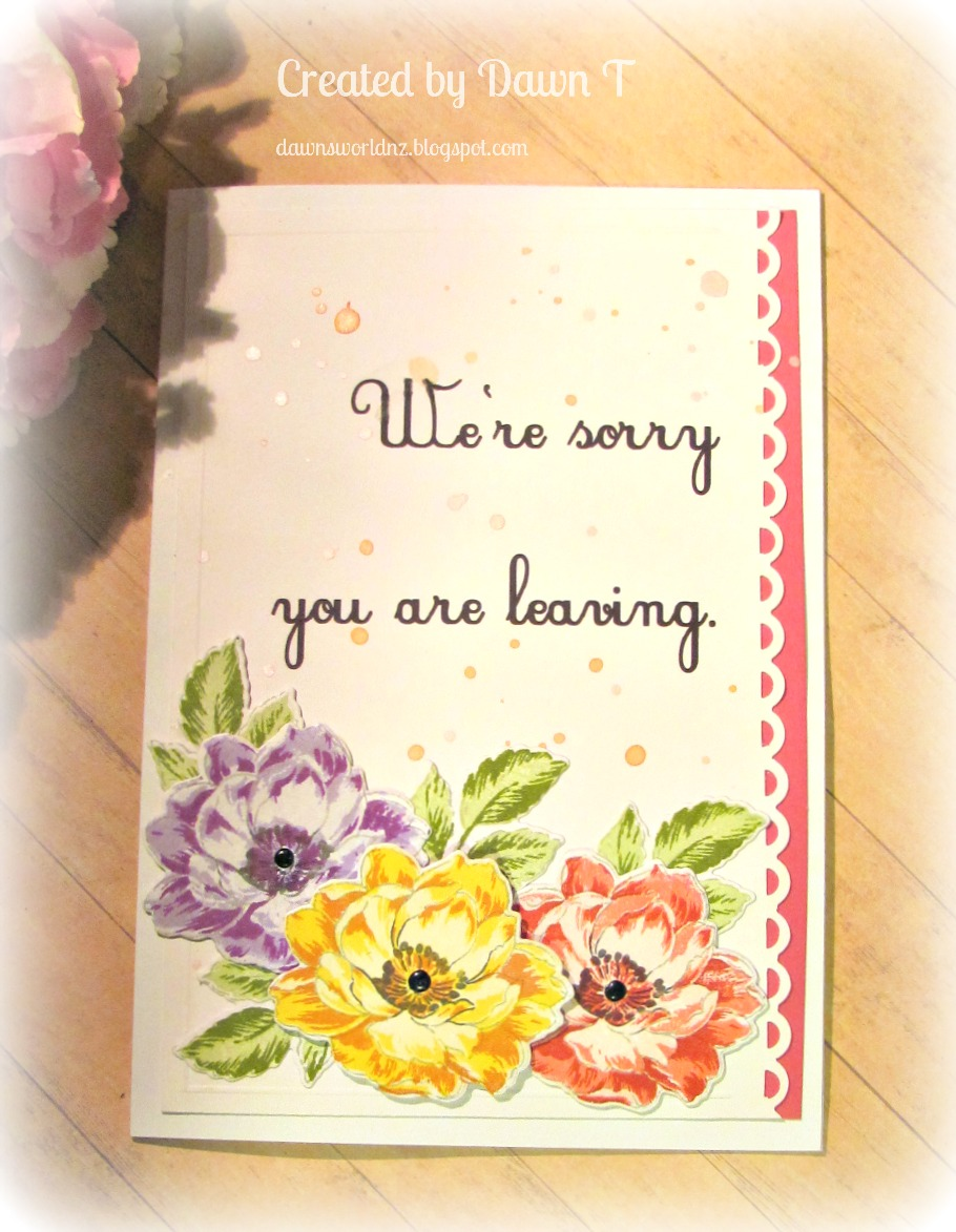 dawn's world we're sorry you're leaving a farewell card