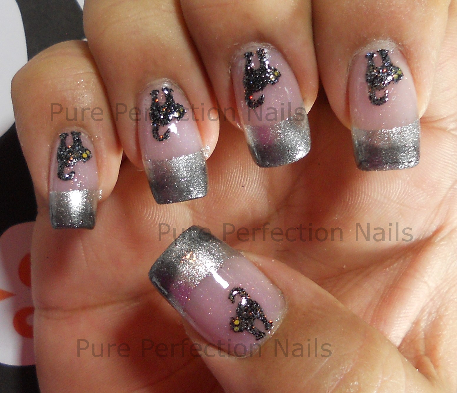 "Pure Perfection Nails: ""Black Cat Crossing"" Halloween Nail Art"