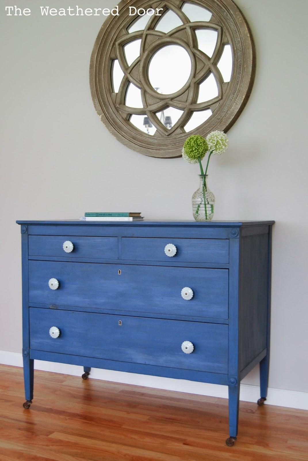 A Federal Blue Milk Paint Dresser With Light S