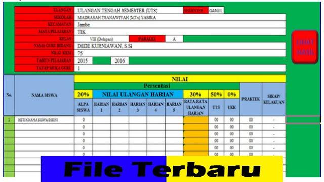 Download Aplikasi Pengolahan Nilai UTS UAS dan UKK Format Microsoft Excel