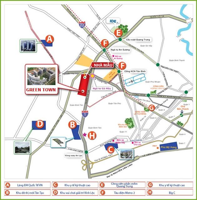 Vị trí của Căn hộ Green Town Bình Tân