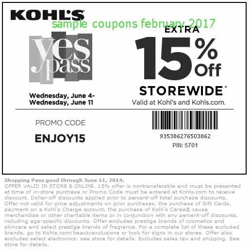 Kohls coupon code february 2018