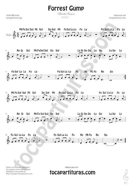 Forrest Gump partitura con notas en español