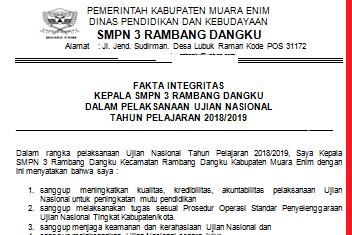 pakta integritas unbk 2019 DOC