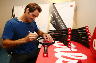 Roger Federer Honored With Commemorative 18 Grand Slam Tennis Racket by Wilson
