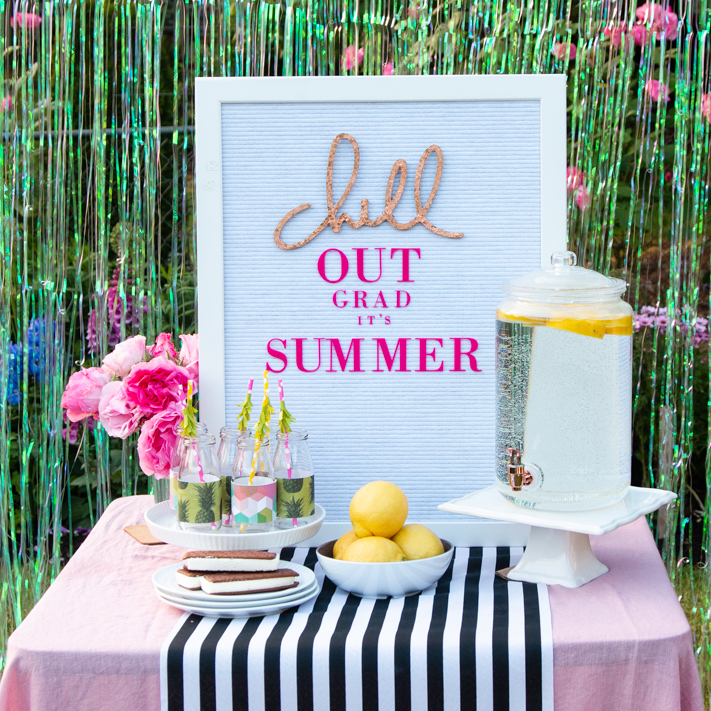 Chill Out It Is Summer Graduation Party by @createoften for @heidiswapp | Using Wall Words and Letterboard