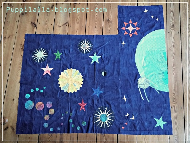 Puppilalla, Round Robin Quilt, Applique, Foundation Paper Stars, Universe Quilt, Star Quilt, Improv Stars, The Rakish Needle Robin