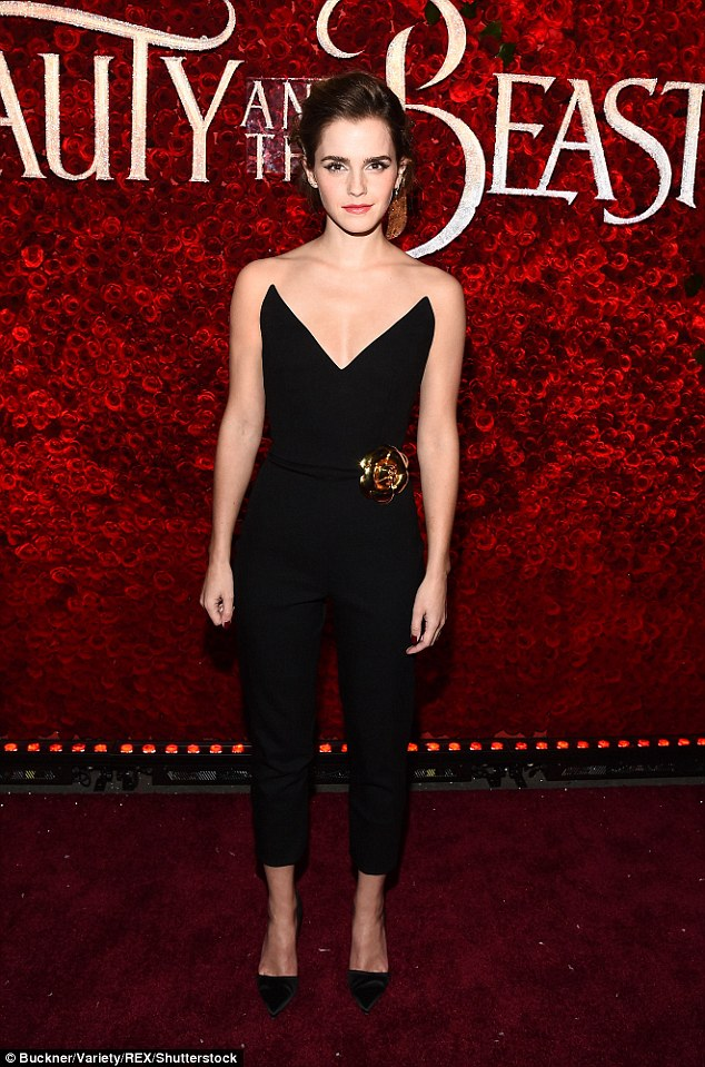 Emma Watson exudes elegance in plunging jumpsuit at Beauty And The Beast premiere in LA