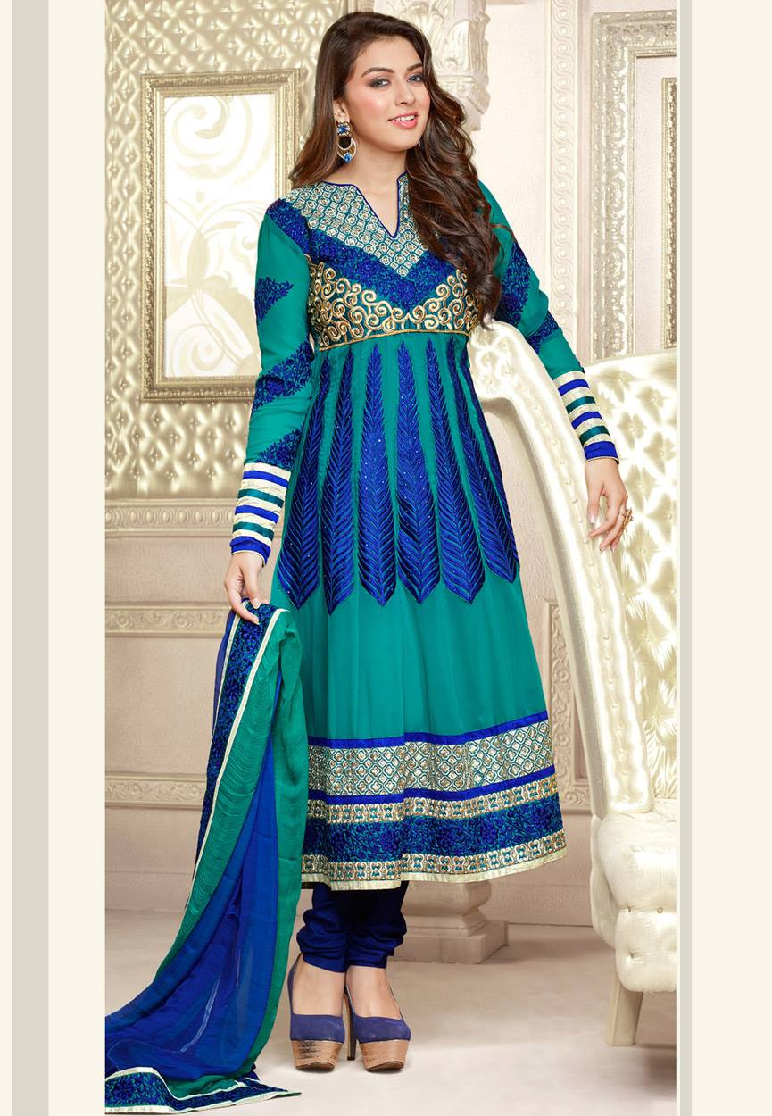 Hansika Photoshoot Photos In Blue Colour Salwar Kameez