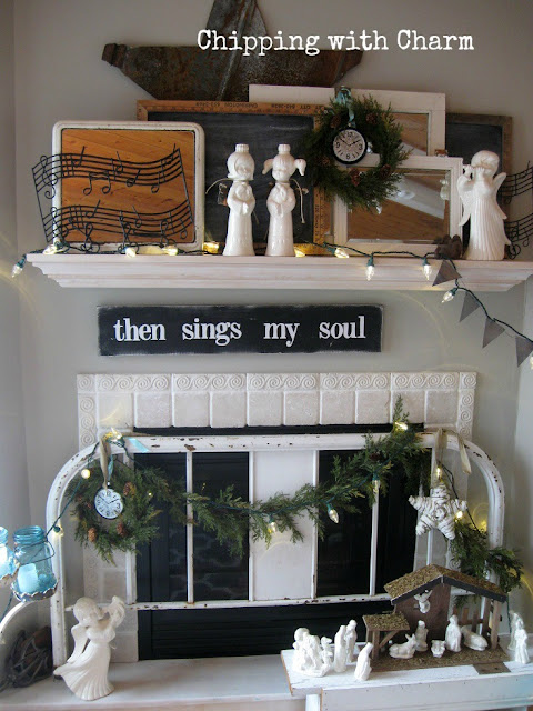 Chipping with Charm: Christmas Mantel 2015...www.chippingwithcharm.blogspot.com