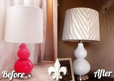 Remodelaholic hand painted lamp shade tutorial i found this gourd lamplinen drum shade combo at marshalls i wasnt thrilled with the bright pink color but having seen a few lamp makeovers on other mozeypictures Choice Image