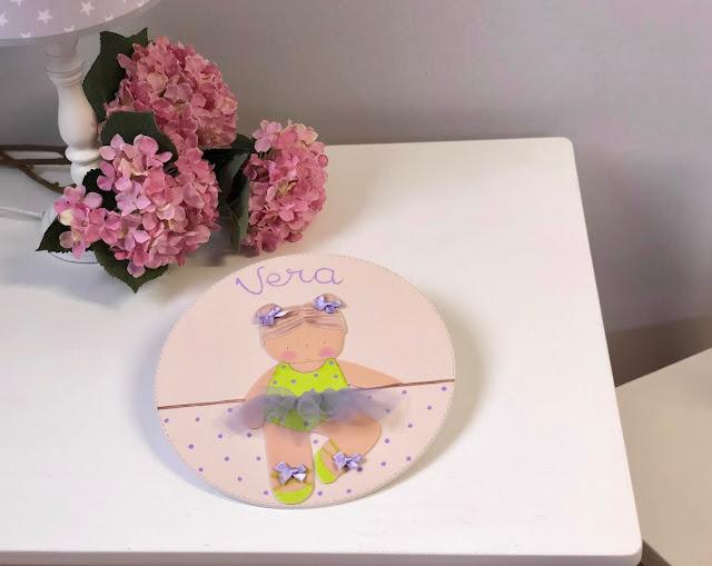 placa puerta infantil personalizada bailarina de ballet -pistacho y lila