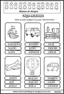 Caça-palavras com nomes de transportes