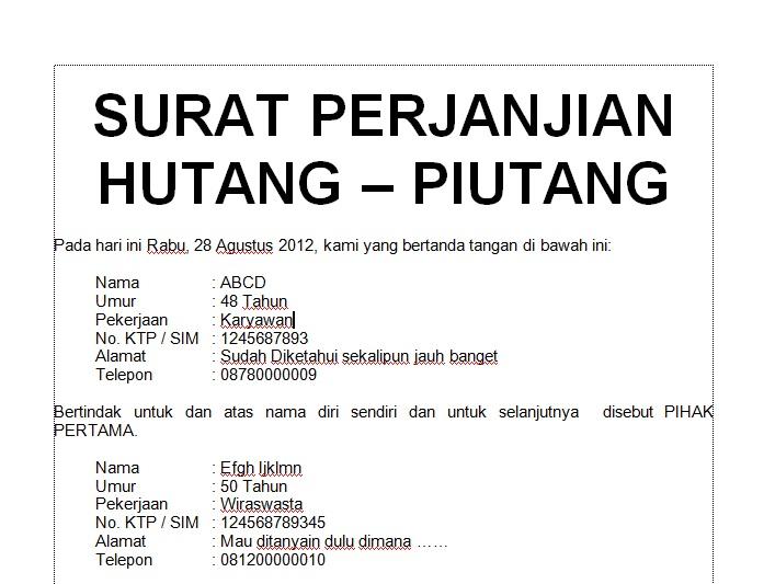 Contoh Surat Hutang Pribadi Suratmenuhargacom