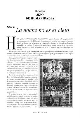 Revista Jizo de Humanidades, presentación y primer número, Ancile