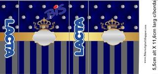 Etiquetas de Corona Dorada en Azul y Brillantes para imprimir gratis.
