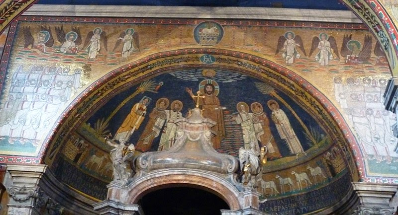 Igreja de Roma Santa Prassede, arco triunfal e baldaquino