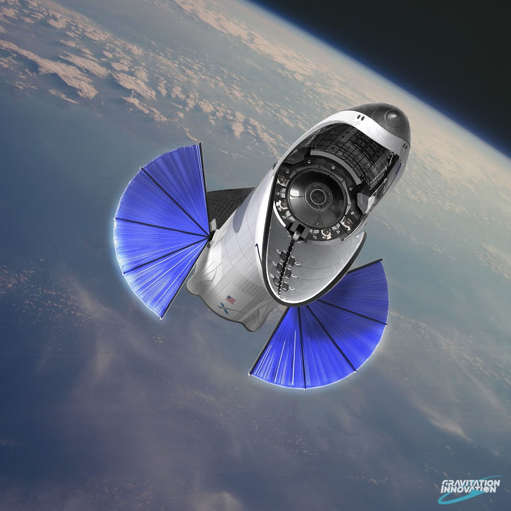 SpaceX BFR spaceship deploying cargo by Gravitation Innovation