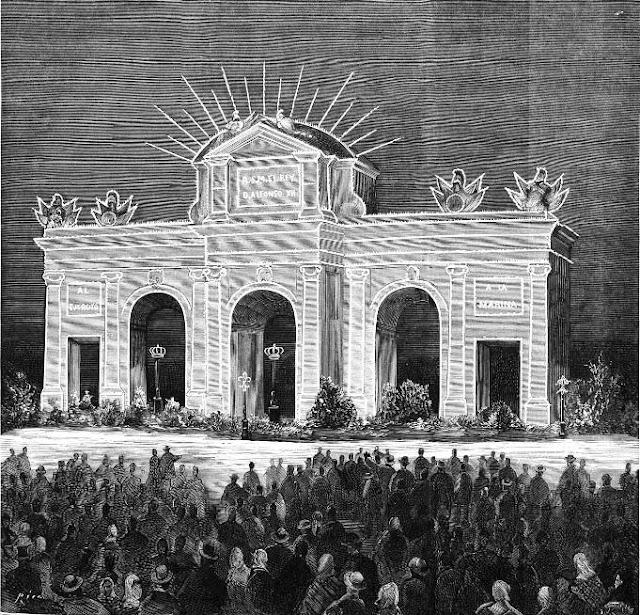 Dibujo de la Puerta de Alcalá publicado en La Ilustración Española y Americana, marzo de 1876
