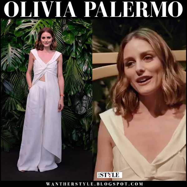 Olivia Palermo in white linen knot dress top and white wide pants johanna ortiz summer spring fashion 2018
