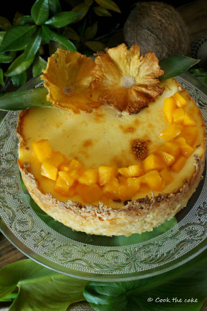 tropical-cheesecake, tarta-de-coco-piña-y-mango, coconut-pineapple-and-mango-cheesecake