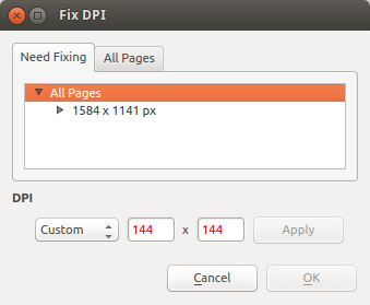 ScanTailor Fix DPI dialog screenshot