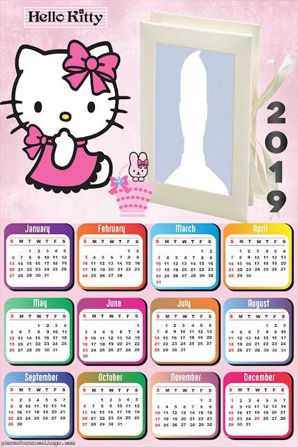 Calendario 2019 de Hello Kitty para Imprimir Gratis.