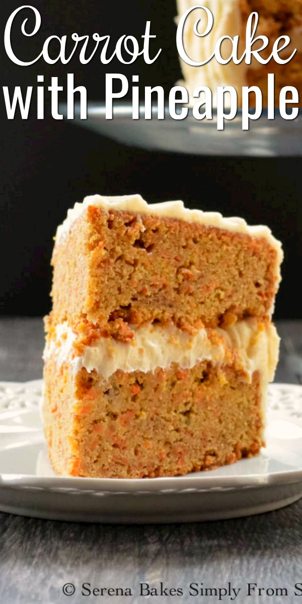 Carrot Cake with Pineapple covered with Cream Cheese Frosting is a favorite moist spicy carrot cake recipe.