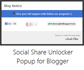 Social Share Unlocker Blogger