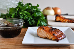 CRISPY BOURBON GLAZED SALMON.