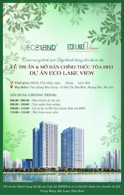Thư mời mở bán Eco Lake View