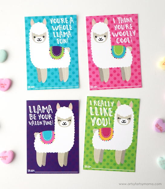 "These Free Printable Llama Valentines are a whole ""llama"" fun!"