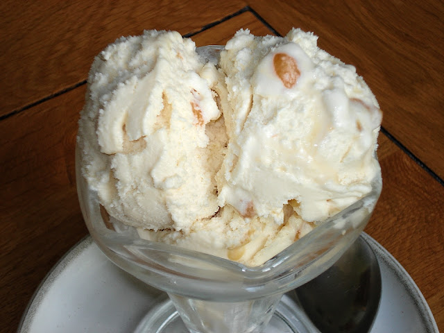 Toffee ice cream in a sundae dish