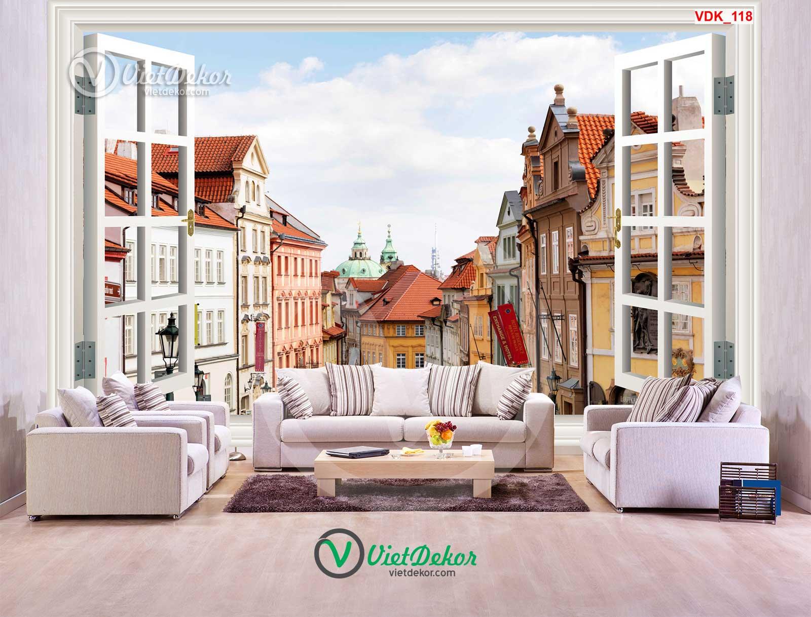 Tranh 3d cửa sổ phong cảnh toàn thành phố