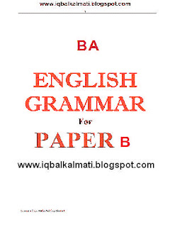 BA in English Grammar Notes PDF Download
