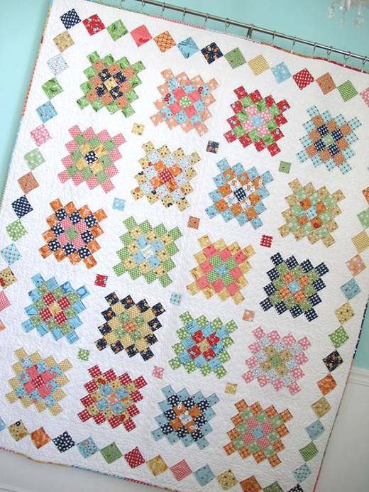 Great Granny Quilt Quilted by Lori Holt of Bee in my Bonnet, The Tutorial by Blue Elephant Stitches