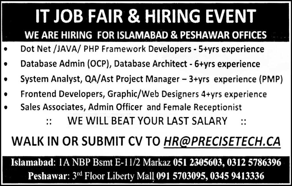 Islamabad and Peshawar Offices IT Fair JObs