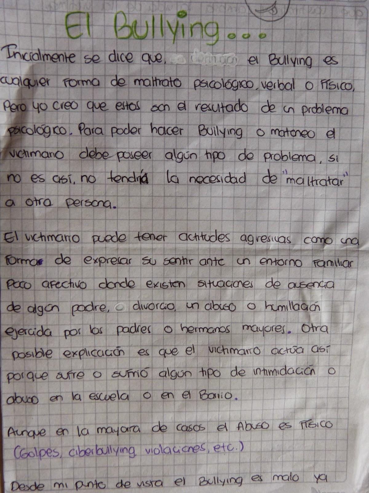 Producto Final Texto Argumentativo 10 2 Colegio Camacho Carreño Texto Argumentativo Bullying O Acoso Escolar