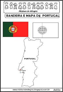 Bandeira e mapa de Potugal