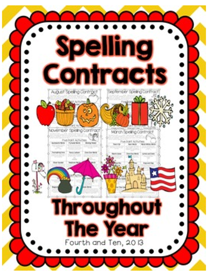 Fourth And Ten's Spelling Contracts with Ideas by Jivey
